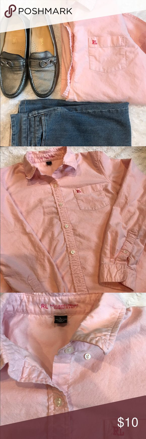 RL Polo Jeans Shirt Cotton Button down shirt, very soft and comfortable. Excellent used condition. Ralph Lauren Tops Button Down Shirts
