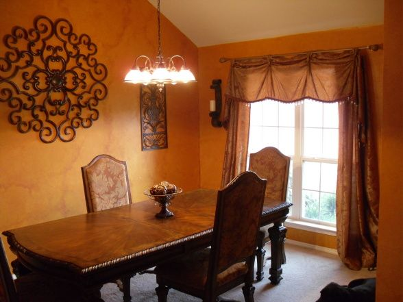 Tuscan Style Dining Room My Wife Loves The Old Italian Theme So We Put Together This With Faux Stone Walls And Lots Of B