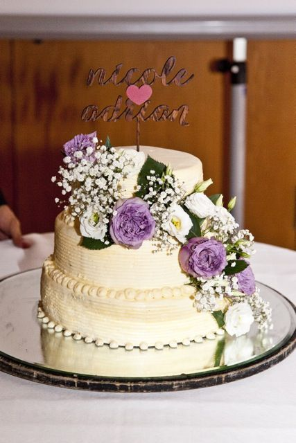 wedding cake, real flowers, my wedding cake with purple flowers