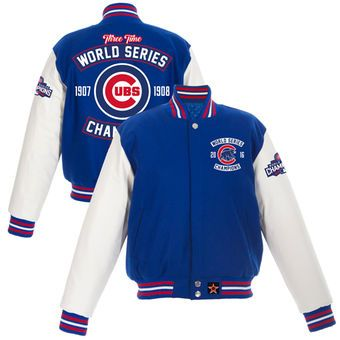 Chicago Cubs JH Design Women's 2016 World Series Champions Two-Tone Leather Jacket - Royal/White