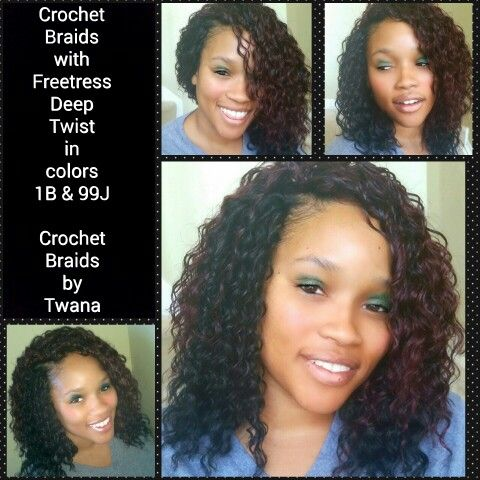 Crochet Braids with Freetress Deep Twist in colors 99J and 1B  invisible part and bob