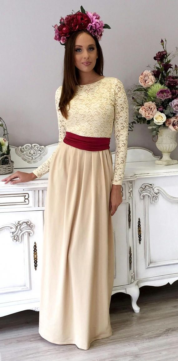 6975f030de3 Yellowish Top Lace Party Maxi Dress Long Sleeves Pockets | DesirVale ...
