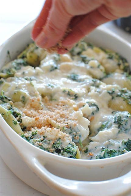 Tuna & Spinach Stuffed Shells, top off with bread crumbs
