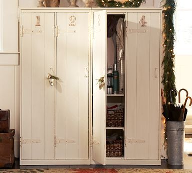Repro vintage lockers... would be really cool in a closetless bedroom. Very cottagey.: Potterybarn, Houses, Lockers Ideas, Mudrooms, Mud Rooms, Pottery Barns, Vintage Lockers, Kids Rooms, Storage
