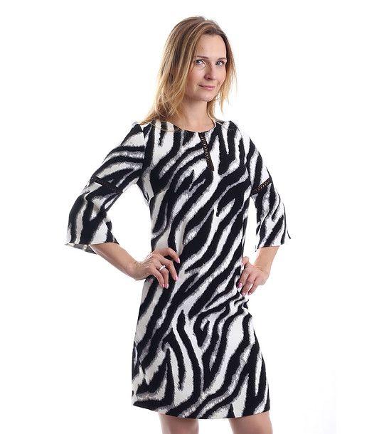 FashionSupreme - Rochie în negru și alb cu imprimeu de zebră - Haine de damă - Rochii - Margo Collection - mereu la modă. Haine şi accesorii de marcă. Haine de designer.