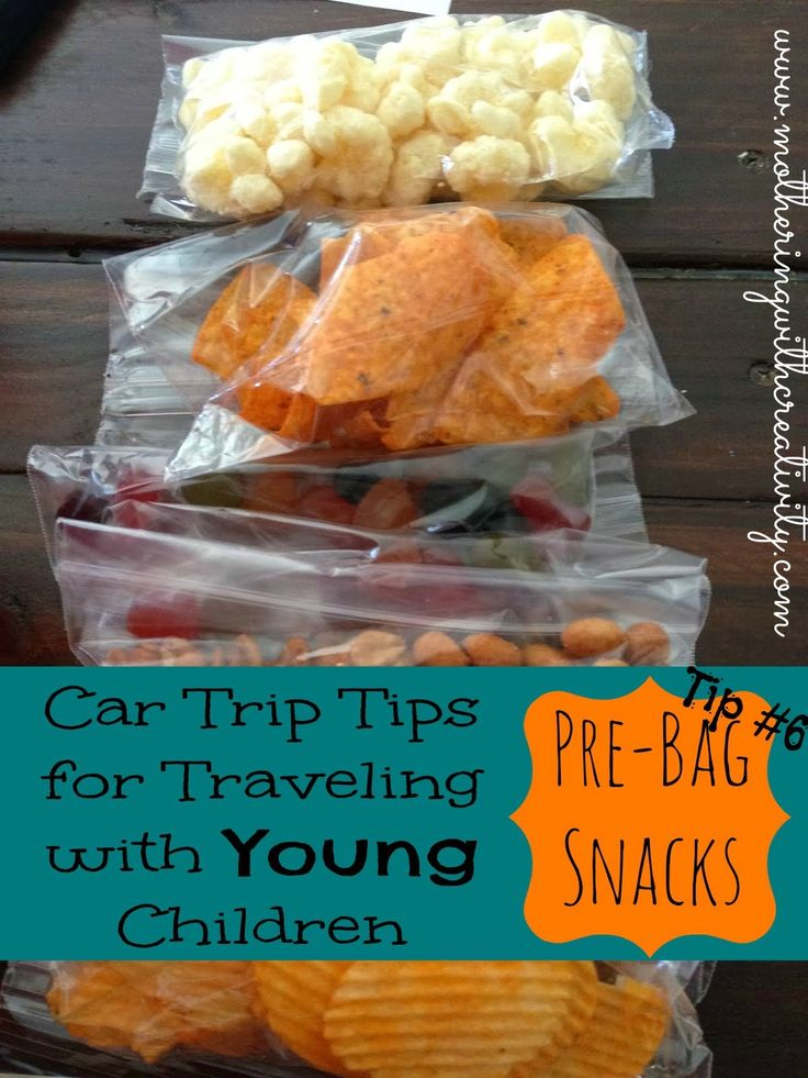 Car Trip Tips for Traveling with Young Children- Tip #6: Pre-Bag snacks and keep a snack bucket