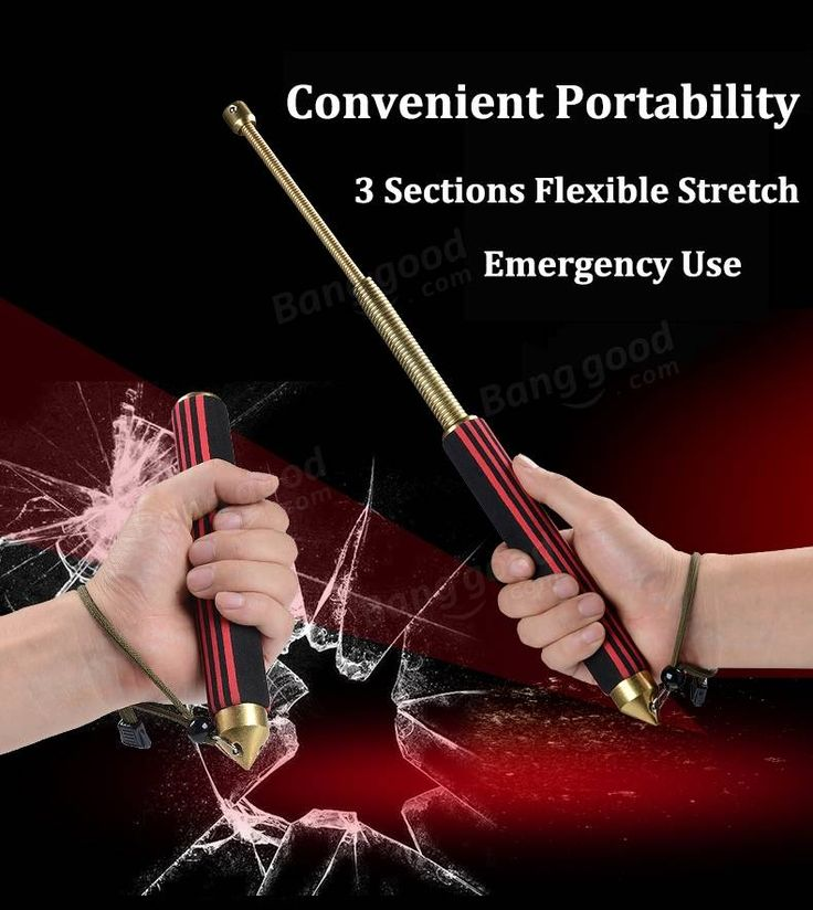 IPRee Folding Security 3-Sections Rod Self-Defense Stick Safety Survival Window Breaking Tool Emergency