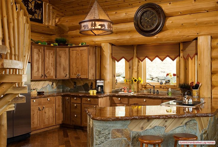 log cabin kitchen -love the counter tops