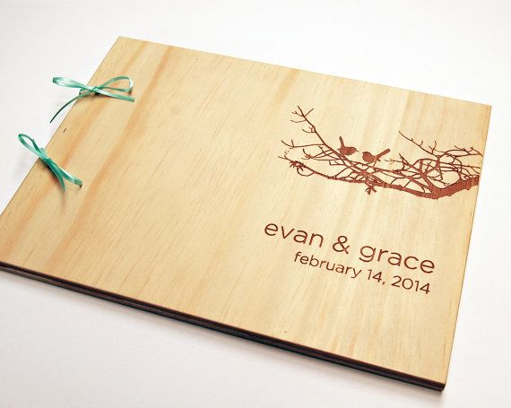 DIY engraved guest book wood wedding personalized bridal by lorgie, $40.00