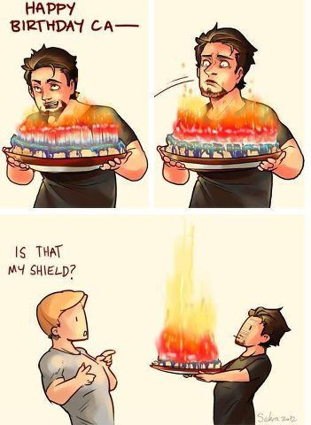 Happy birthday, Captain America!//I love the excessive amount of candles cuz he's like 98