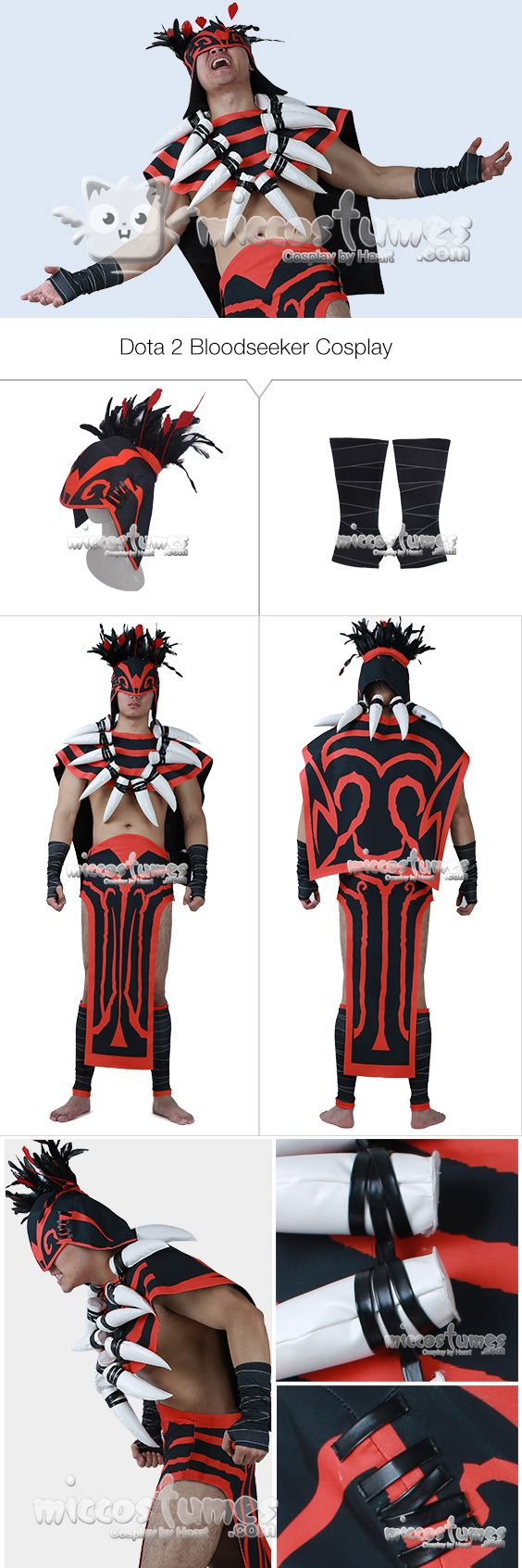 More about Dota 2 Bloodseeker Cosplay Costume with Shoe Covers made by Miccostume  #cosplay #miccostumes #Dota2 #Bloodseeker #CosplayCostume  #Dota2cosplay #BloodseekerCosplay