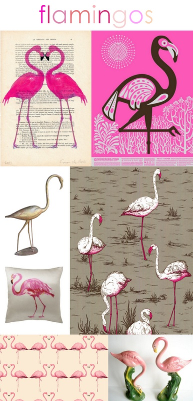 From top to bottom: #Flamingo Heart Art | Shocking Pink Poster | 1940s Pink Flamingo Sculpture | Flamingo Wallpaper | Flamingo Pillow | Flamingo Heart Fabric | Vintage Pink Flamingo Figurines