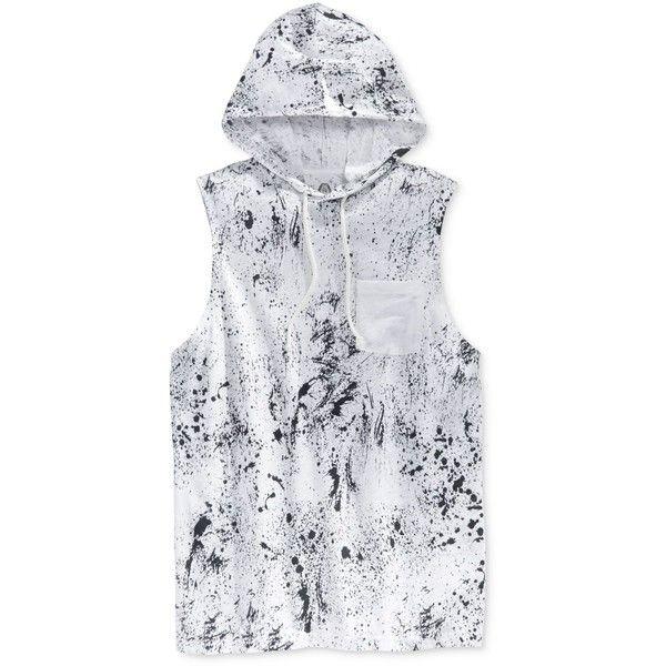 American Rag Men's Paint-Splatter Sleeveless Hoodie, ($16) ❤ liked on Polyvore featuring men's fashion, men's clothing, men's hoodies, bright white, mens sweatshirts and hoodies, mens hooded sweatshirts, mens hoodie and mens hoodies