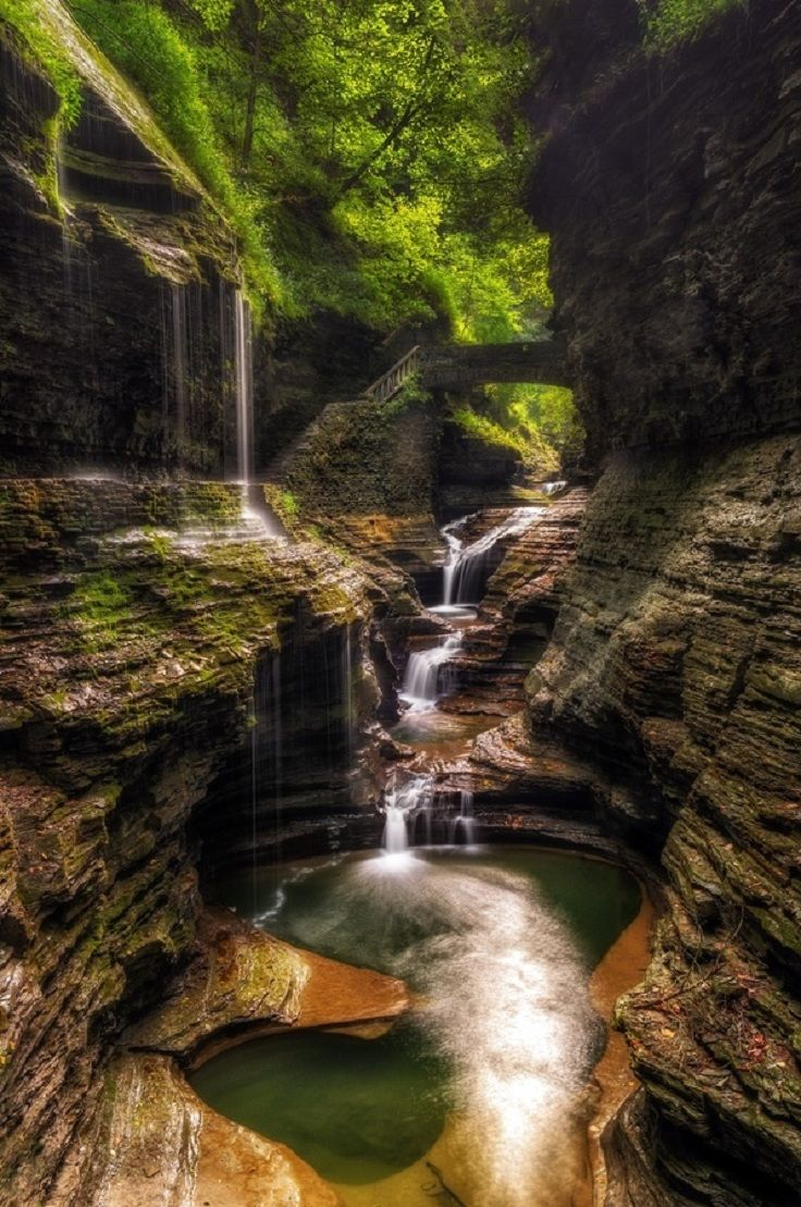 #Rainbow Falls, #Watkins Glen, New York #usa-waterfalls