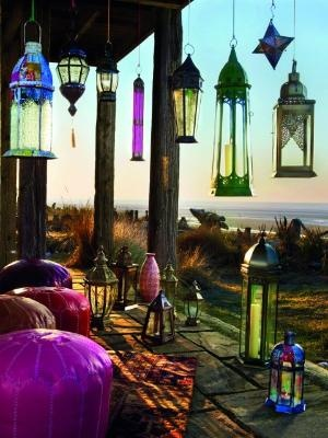 Charming Morocco Style Patio Designs With Colorful Chandelier Chair Cushions Lamp Carpet