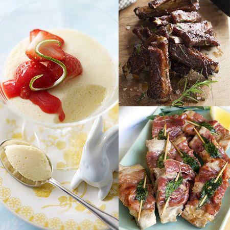 Brochettes saltimboccas à la sauge, ribs de porc à la sauce barbecue, mousse au chocolat blanc et coulis de fraises