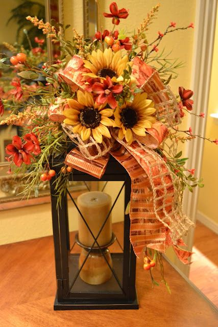Fall lantern with sunflowers....Kristen's Creations