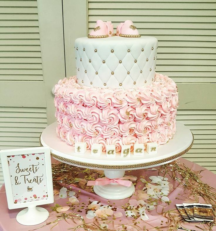 Baby Shower Cakes For Girls.Baby Shower Cake Pink And Gold Baby Girl Cake