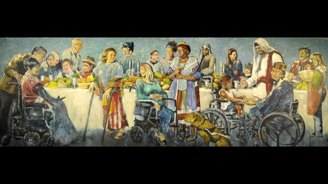 "The mural depicts a take on Jesus's parable in Luke 14 where a man prepared a grand banquet but everyone invited was too busy to come. So has instructed his servants to go out and get people among ""the poor, the crippled, the blind, and the lame."" It's a theme truth with the organization ""Joni and Friends"" and will hang prominently in their headquarters in Agoura Hills, California. Painted by Hyatt Moore."