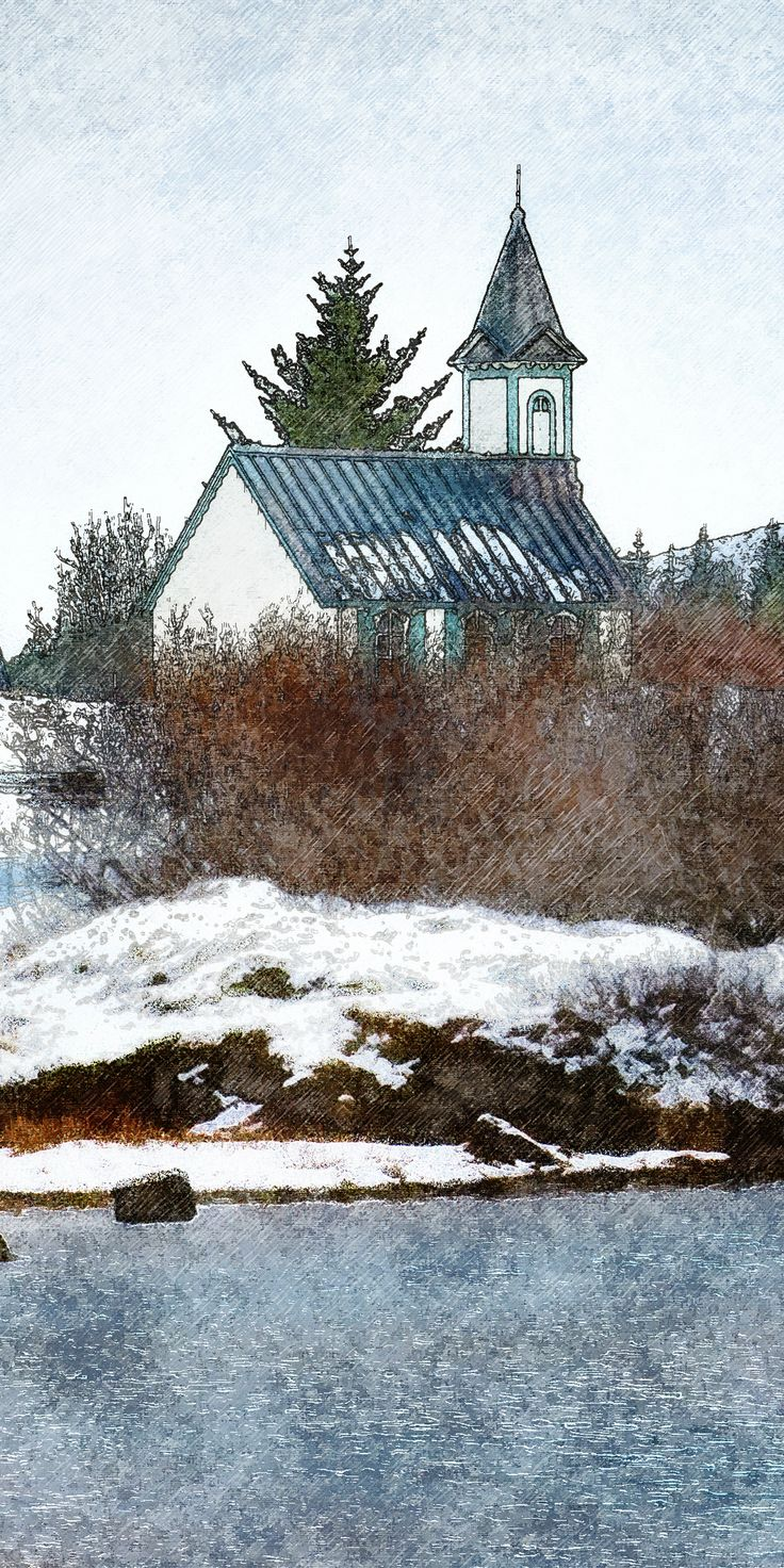 Houten kerkje in een sneeuwlandschap, Þingvellir, IJsland - Wooden church in a snowy landscape, Thingvellir, Iceland - Holzkirche in einer verschneiten Landschaft, Thingvellir, Island - Église en bois dans un paysage enneigé, Thingvellir, Islande - Digtaal schilderij/digital painting.digitales Gemälde /peinture digitale