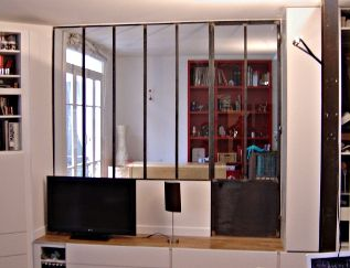 Verri re int rieure finition acier brut pour la cuisine for Verriere interieure standard