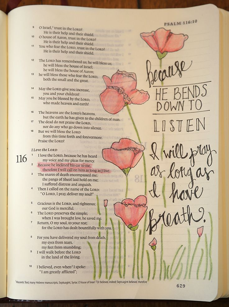 Psalm 116:2 Because He bends down to listen, I will pray as long as I have breath. Image traced from https://www.pinterest.com/pin/83738874298625536/