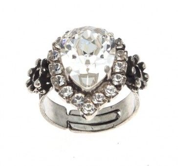 Ring with Swarovski crystal and strasses, by Art Wear Dimitriadis - Handmade-