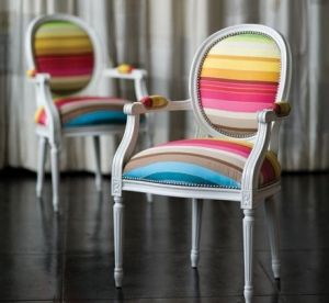Love It!: Dining Room, Dining Chairs, Rainbows, Vibrant Colors, Upholstered Chairs, Accent Chairs, Stripes, Furniture, Chairs Design
