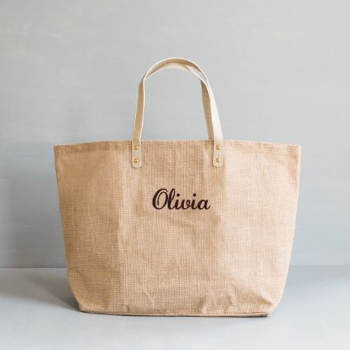 Personalized Jute Tote by Beau-coup