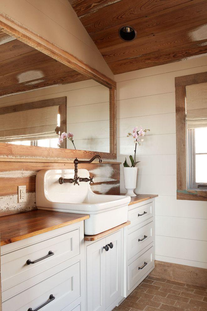 Bathroom Sink Faucets Bathroom Rustic with Antiqued Brick Floor Cabin
