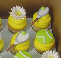 tennisball cupcakes   So what is there to do on a random Wednesday afternoon? Play tennis ...