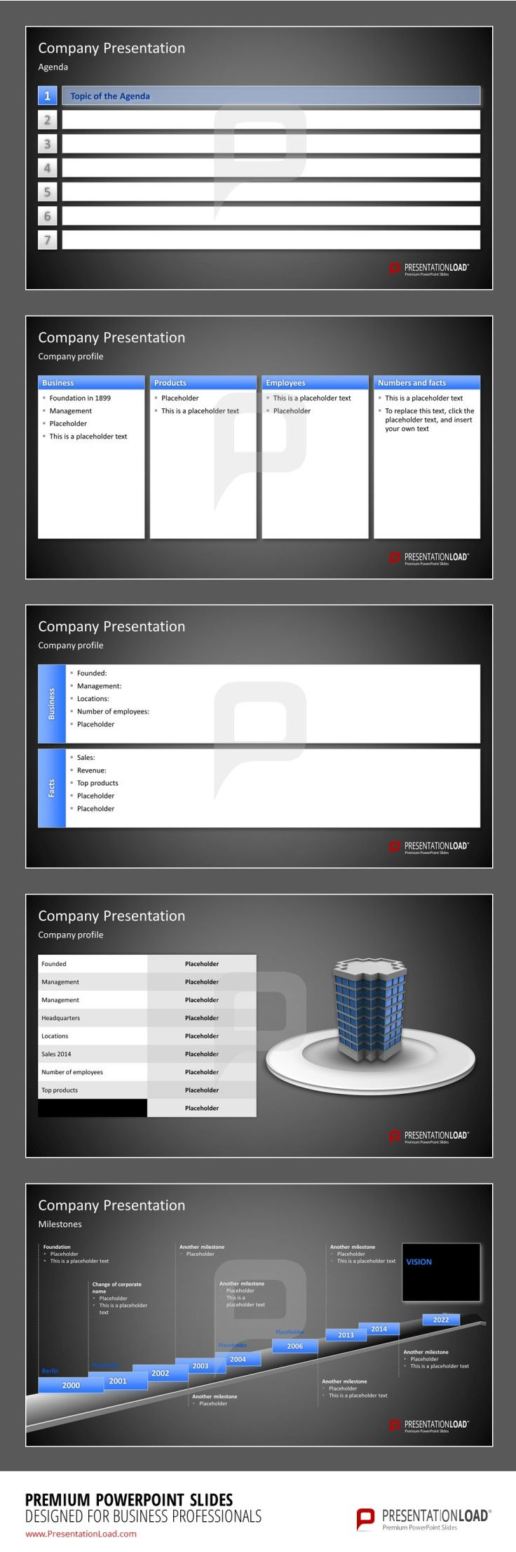 Company Presentation PowerPoint Templates Use our Company Presentation PowerPoint Templates to present your Company with a Company Profile containing information to Business, Products, Employees and Numbers & Facts. #presentationload  www.presentationl...
