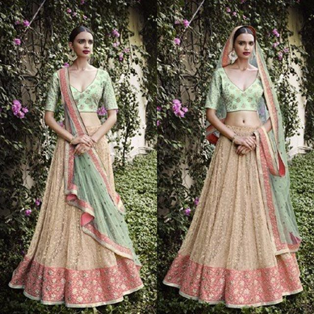 £97, Peach Net Lehenga Choli.<br></a><br/>DM us for more info <br/>