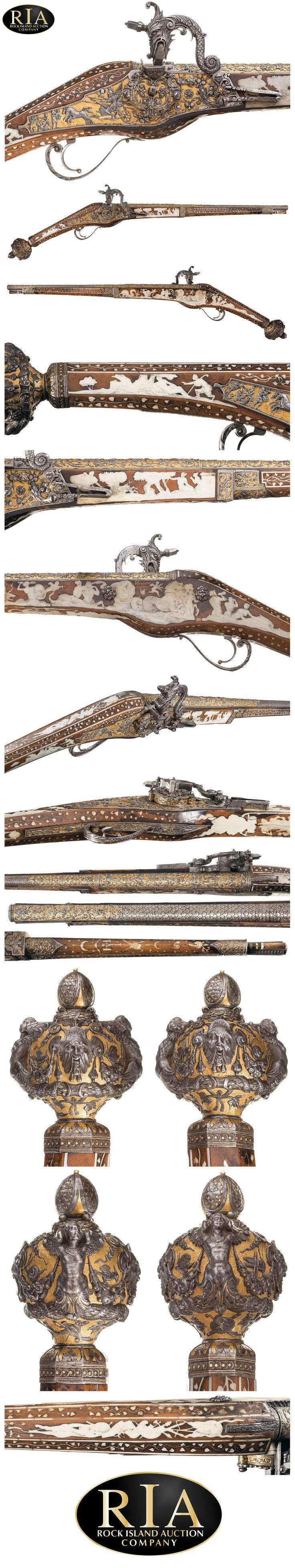 An Extremely Rare and Magnificent Wheellock Holster Pistol with Superbly Chiseled and Gilt Steel Mounts by Emanuel and/or Daniel Sadeler Royal Gunmakers to HRH Duke William of Bavaria Circa 1605