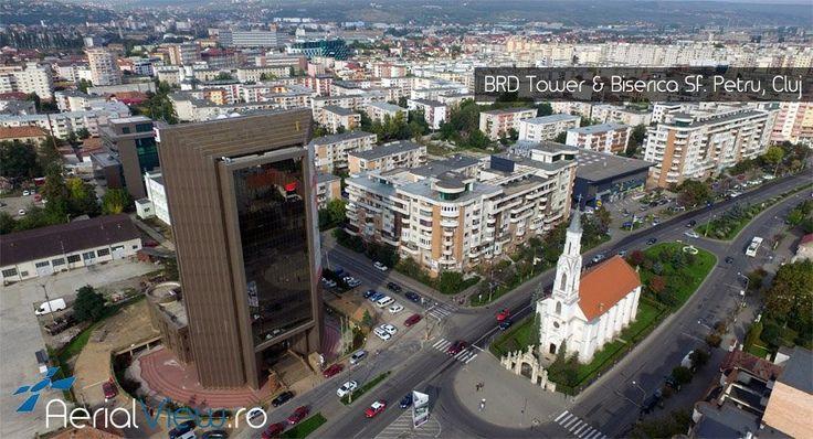 Minunata cladire BRD Tower din Cluj si Biserica Sf. Petru ! #aerialview #fotografiidrone #fotografiiaeriene #cluj
