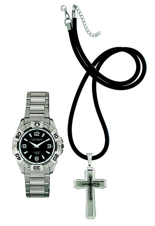 Hallmark watch and silver cross pendant on rubber thong set