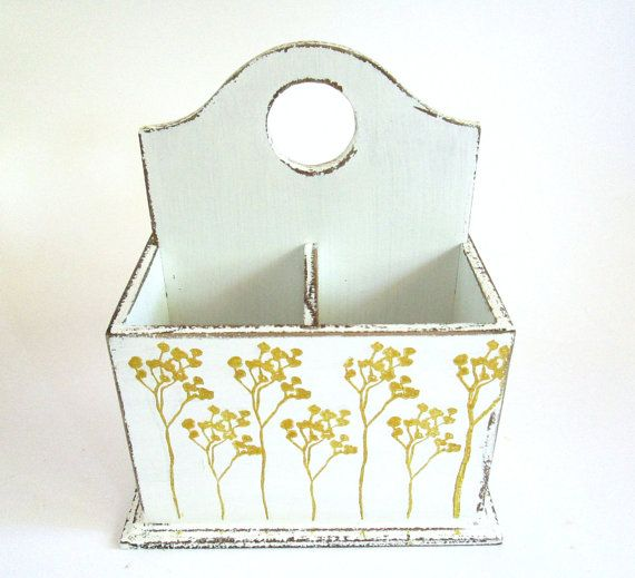 white flatware cutlery silverware caddy with floral leaf print in metalic gold
