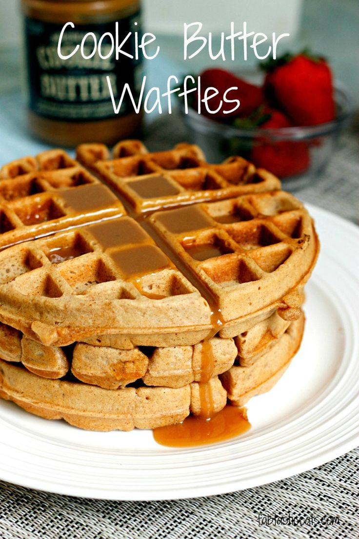 Deliciously sweet cookie butter waffles topped with a Cookie Butter White Chocolate Maple Syrup!