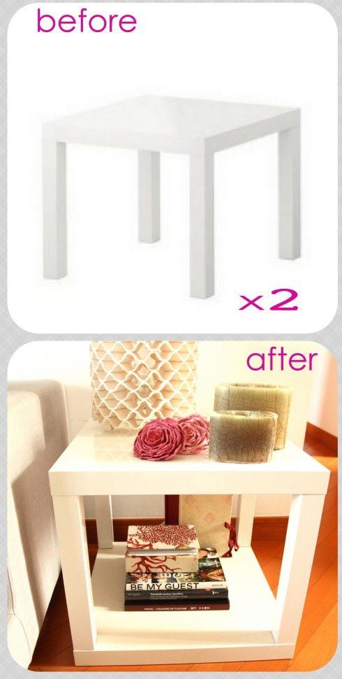 ikea table - before and after - Petite table ikéa sous laquelle on vient fixer le plateau d'une 2nde petite table : - idéal en bout de canapé - comme table basse (si on en fait 2 ou plus) - comme table de chevet...