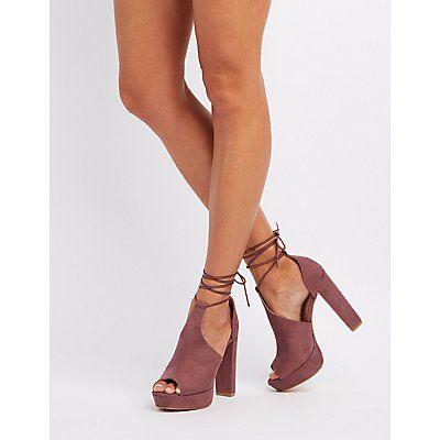 Purple Lace-Up Peep Toe Platform Pumps - Size 9