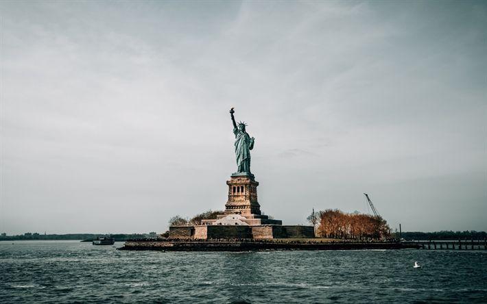 Download wallpapers Statue of Liberty, New York, Freedom Island, neoclassicism, USA, New York landmark