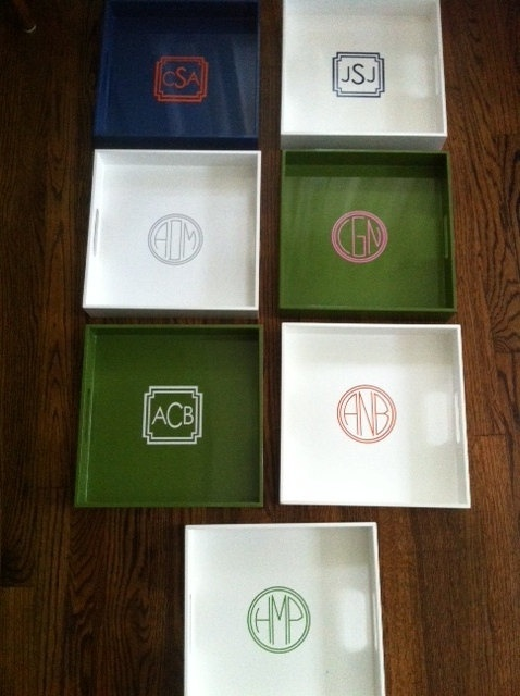 Monogram stickers to add to a tray: Baby Decor With Cricut, Trays 12, Monogram Stickers, Kitchens Trays, Monograms Trays, Stickers 12, Add Monograms, Monograms Stickers, Serving Trays