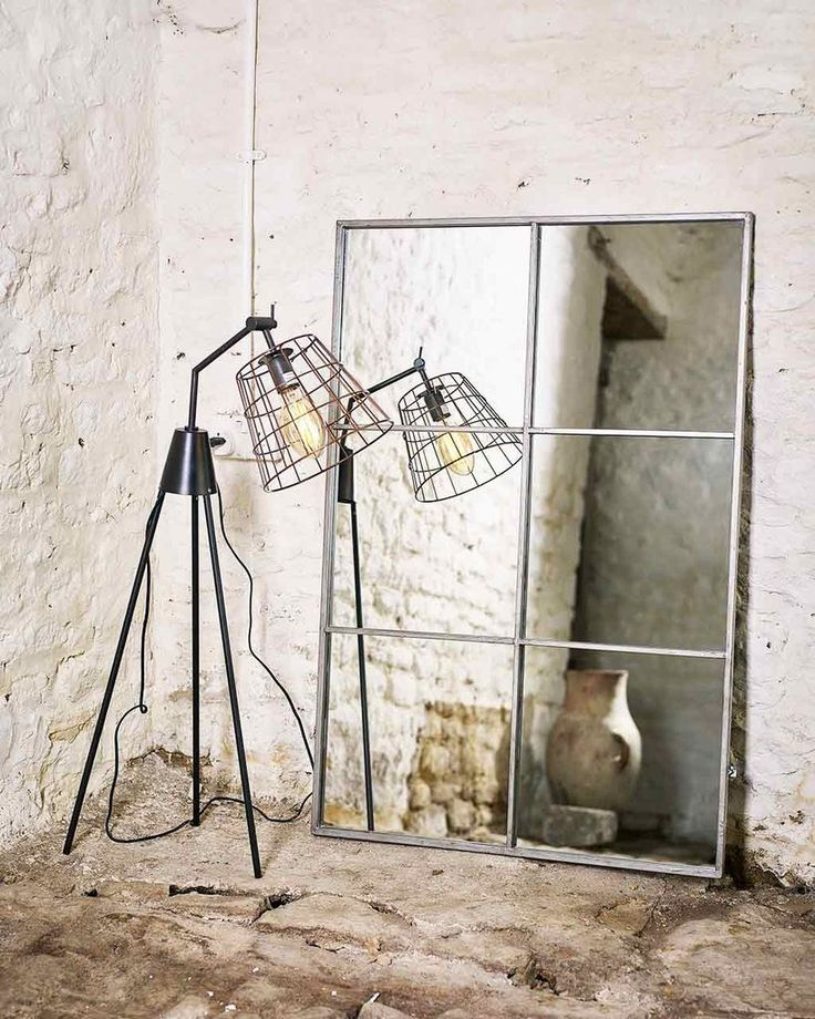 MirrorDeco — Large Window Frame Mirror - Antique Silver Frame H:118cm