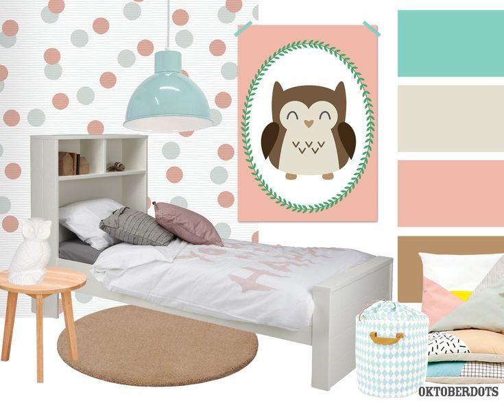 Cute #kidsroom #girl #bedroom collage with #colorscheme and a big #owl #poster