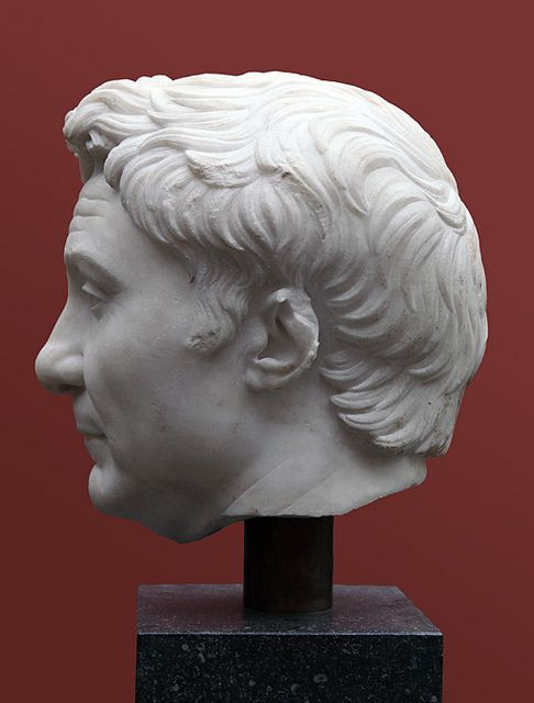 Pompey the Great: Copenhagen (profile)  Roman marble portrait of Pompey the Great (Gnaeus [or Cnaius] Pompeius Magnus; lived 106-48 BCE) now in the Ny Carlsberg Glyptotek in Copenhagen (now inv. 773; #733 in Poulsen's cat. of 1962). Profile, facing left. This is the best surviving portrait of Pompey; the museum dates this as a posthumous image (probably a copy of an earlier portrait made in the 50s BCE); this example dating to ca. 30-50 CE (i.e., Claudian in date). H: 26 cm.