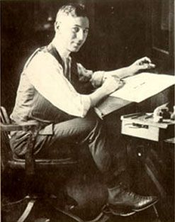 """Reuben Garrett Lucius Goldberg (July 4, 1883 – December 7, 1970  aka Rube Goldberg, Cartoonist and inventor of the """"Rube Goldberg Machine"""".  In 1931 the Merriam-Webster dictionary adopted the word """"Rube Goldberg"""" as an adjective defined as accomplishing something simple through complex means."""