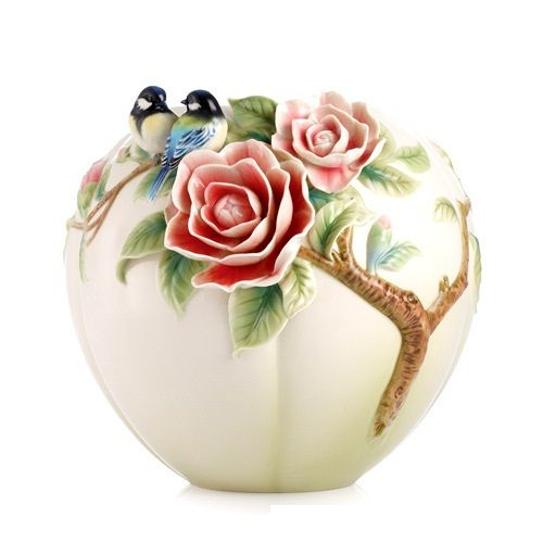 Made By Franz Collection. Franz Porcelain Joyful Spring   Blue Chickadee  And Camellia Vase. 817714011785 Part: The Franz Collection Porcelain Joyful  Spring ...