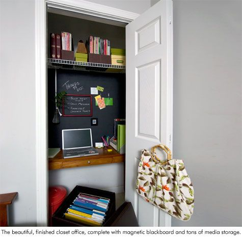 turn a cluttered closet into a bright home office