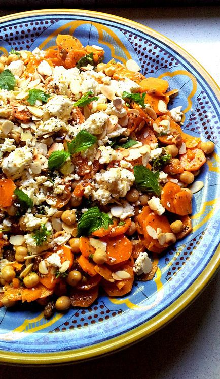Moroccan-Spiced Carrot and Chickpea Salad with Mint & Almonds by Scrumptious