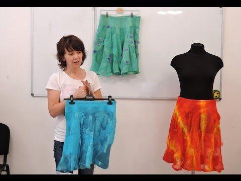 Летний войлок Снежаны Костиной. Воздушные юбки из шелка шифон и мериноса - YouTube